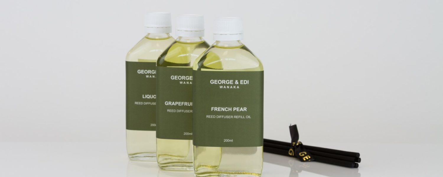GEORGE & EDI reed diffuser refill bottles and reeds